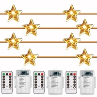 Star Shaped 3 Pack LED String Fairy Lights Battery Operated Indoor Outdoor Waterproof Firefly Lights Remote Dimmable 8 Model