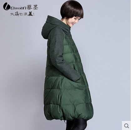 2015 New Hot Winter Thicken Warm Woman Down jacket Coat Parkas Outerwear Hooded Splice Mid Long Plus Size 3XXXL Luxury Straight 2015 new hot thicken warm woman down jacket coat parkas outerwear mid long plus size 2xxl luxury brand slim hooded red wine