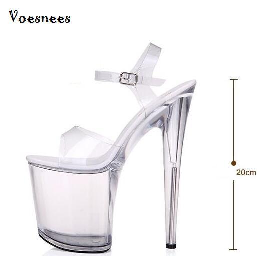 95673e2bd Verão Super Fino Cristal de Alta-Sapatos de salto alto 14 cm Sandálias ...
