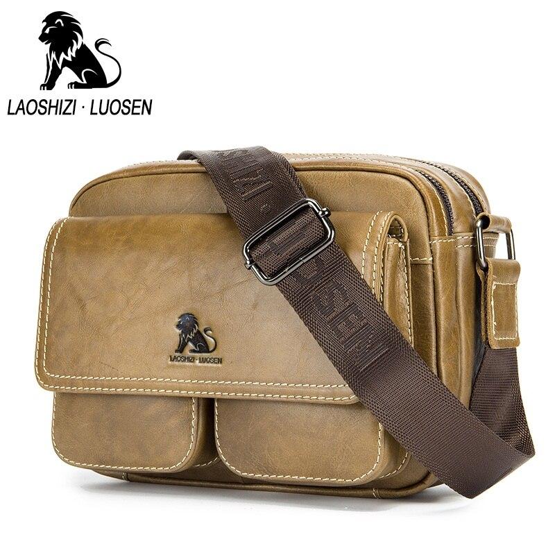 LAOSHIZI LUOSEN sac en cuir véritable hommes sacs décontracté Vintage hommes sac Messenger marque Design hommes épaule bandoulière sac de voyage