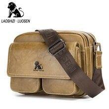 LAOSHIZI LUOSEN Genuine Leather Bag Men Bags Casual Vintage Men's Messenger Bag Brand Design Men Shoulder Crossbody Travel Bag