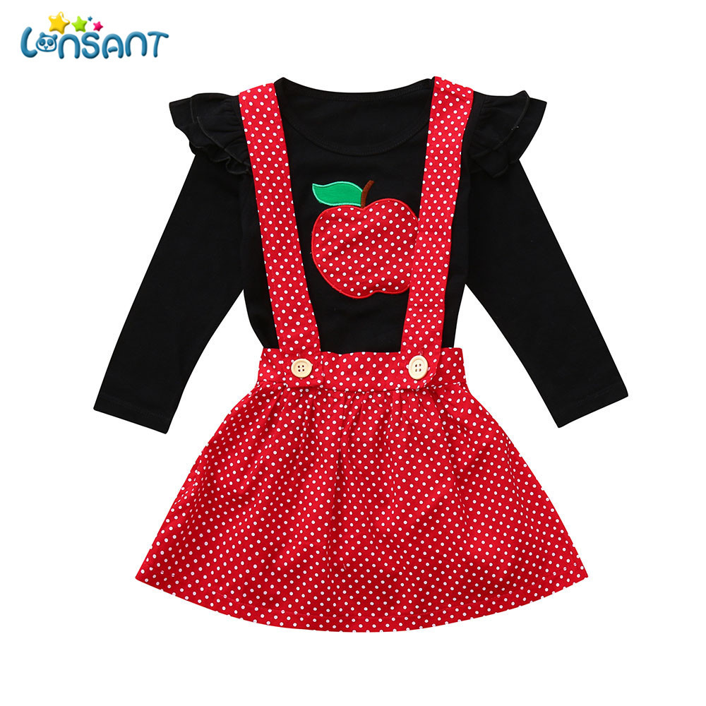 LONSANT Baby Girls Dress Two Pieces Set Clothes Toddler Infant Baby Girls Fruit Ruched Tops Strap Dot Print Skirt Outfits Set