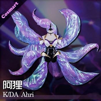 [Jan. Stock] 2018 Game LOL KDA Ahri Cosplay Costume PU Leather Uniform K/DA Ahri Cospaly Full Set With Ear For Halloween Free