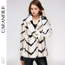 CARANFIER Casual Fashion Faux Fur Coat Winter Knitted Thick Warm Fur Wide-waisted Cover Botton Long Sleeve Jacket