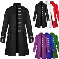 Medieval Cosplay Halloween Costumes for Men Punk Retro Renaissance Cosplay Men's Coat Medieval Noble Knight Uniform S~2XL