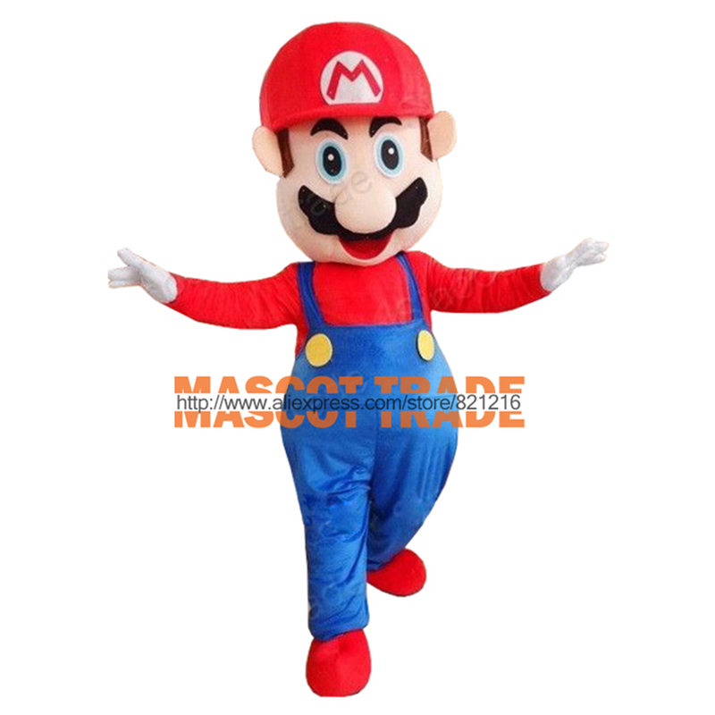 Adult Super Mario Mascot Cartoon Mascot Costume Fancy Dress   for Halloween party  event