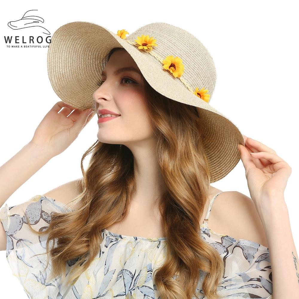 Welrog mujeres sol sombrero grande ancho playa del borde del sombrero de  paja girasol wreath corona diseño Cap protección UV al aire libre acitivity  ... 326cde32821