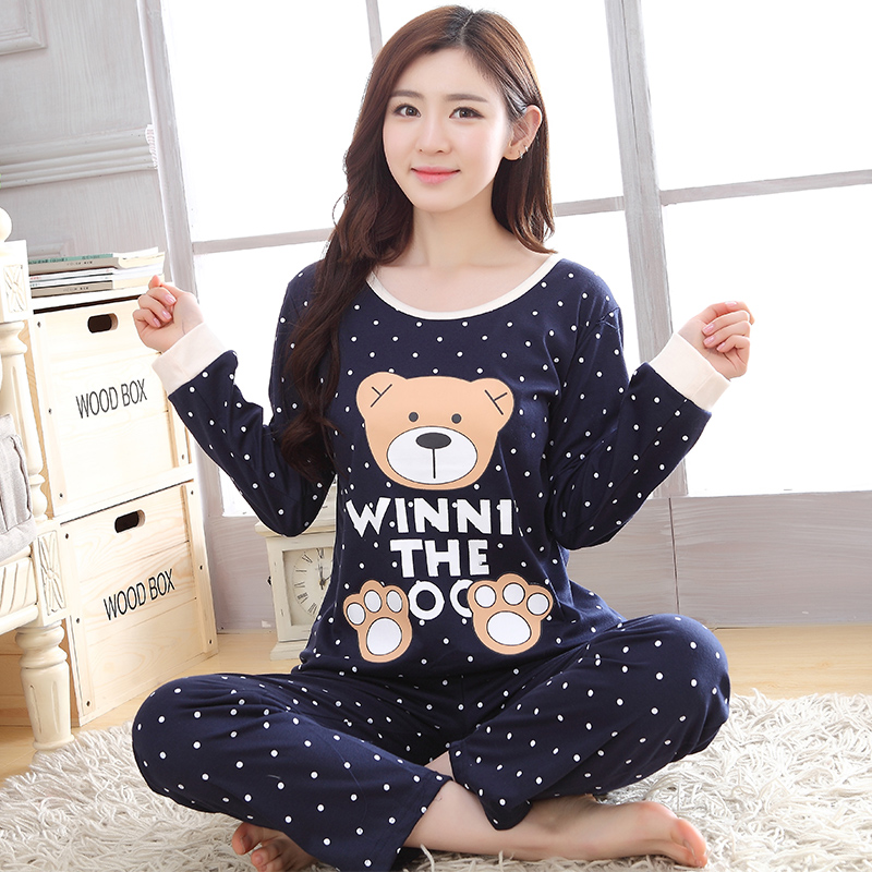 spring Autumn women   Pajama     Set   casual Homewear Long Sleeve Thin print nigtgown pink cute Sleepwear suit young Girl gift pyjamas