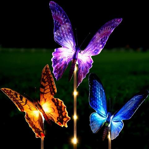 luzes solares do jardim multi mudando a cor da borboleta do passaro libelula caminho movido