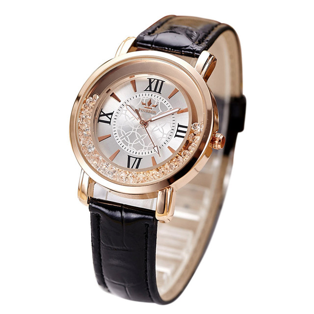 Hot Fashion bracelet montre Quartz Watch Women Rhinestone Leather Band Vintage m