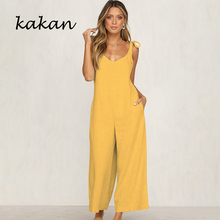 Kakan 2019 summer new womens loose jumpsuit strap sexy trumpet yellow dark gray orange black