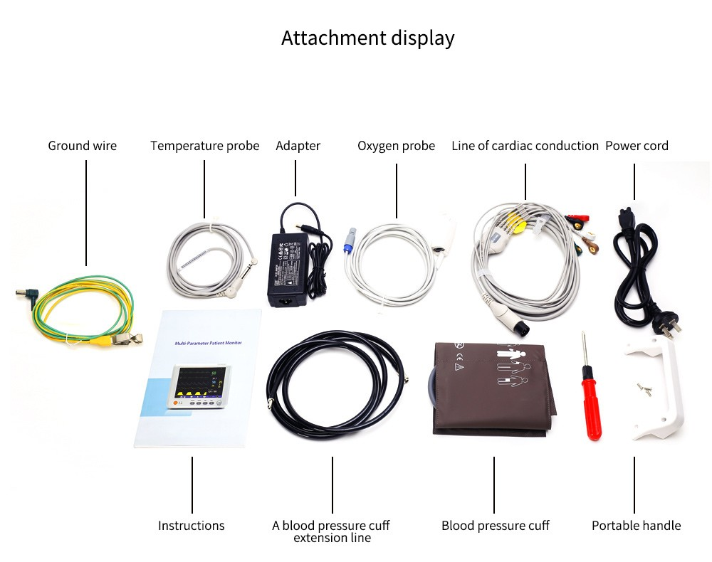 8 Inch Patient Monitor with ECG NIBP SPO2 Temperature and ETCO2/CO2 ICU CCU Hospital ambulance family vital signs monitoring
