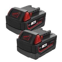 цена на bonacell 2pcs 6000mAh Li-ion Tool Battery for Milwaukee M18 48-11-1815 48-11-1850 2646-20 2642-21CT Repalcement M18 Battery