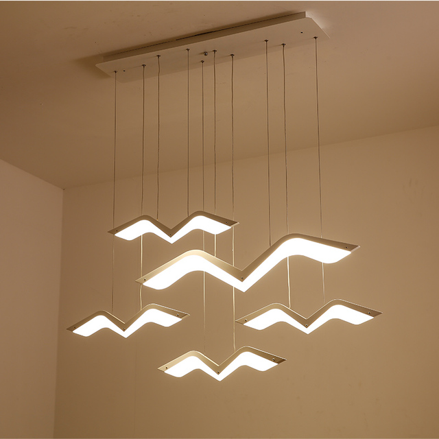 Modern LED Seagull Pendant Lights For Dining Room Kitchen Bar Acrylic Hanging Suspension luminaria lustre Pendant Lamp Fixtures