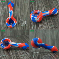 10pcs Smoking Mini Silicone Hand Pipes Cheap Hookah Glass Tobacco Spoon Pipes Small Bowl Pipe Unique