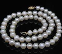 Благородный женский подарок Золотая застежка HHUGE натуральный белый GW 9 9,5 мм Белый AAA + Akoya ожерелья из жемчуга