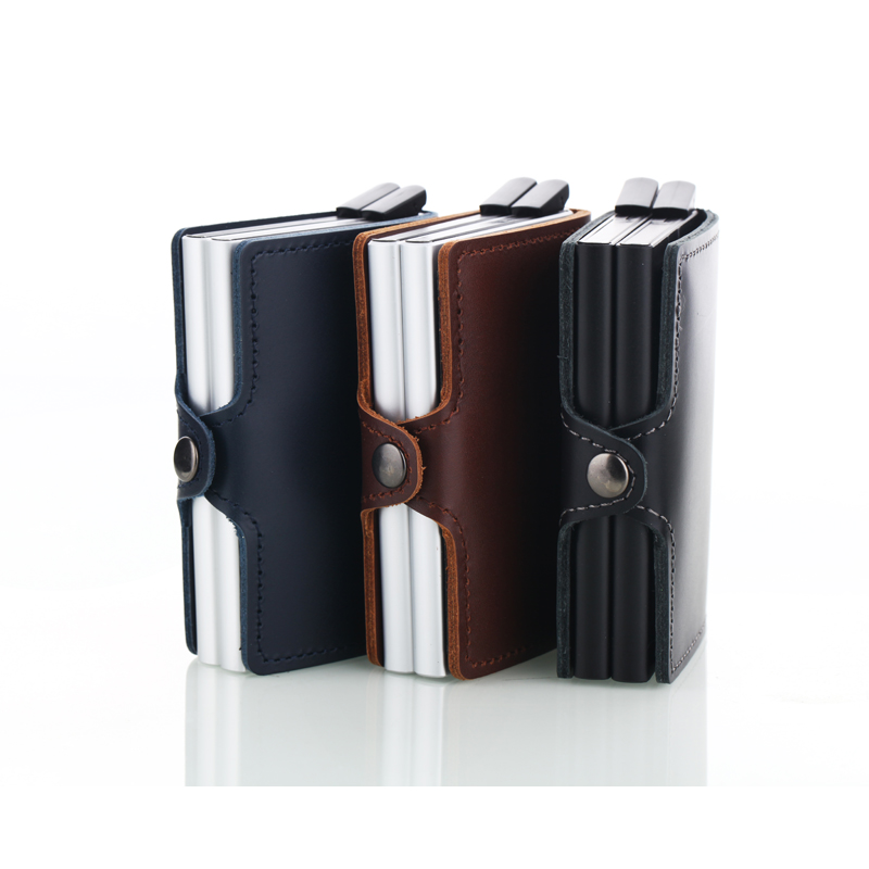Wholesale New Men Credit Card Holder High Quality Aluminum Business Genuine Leather Automatic Wallet