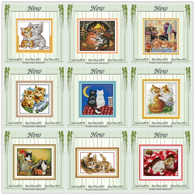 Black and white cat lovers kittens painting counted printed on canvas DMC 14CT 11CT Cross Stitch Needlework Sets Embroidery kits