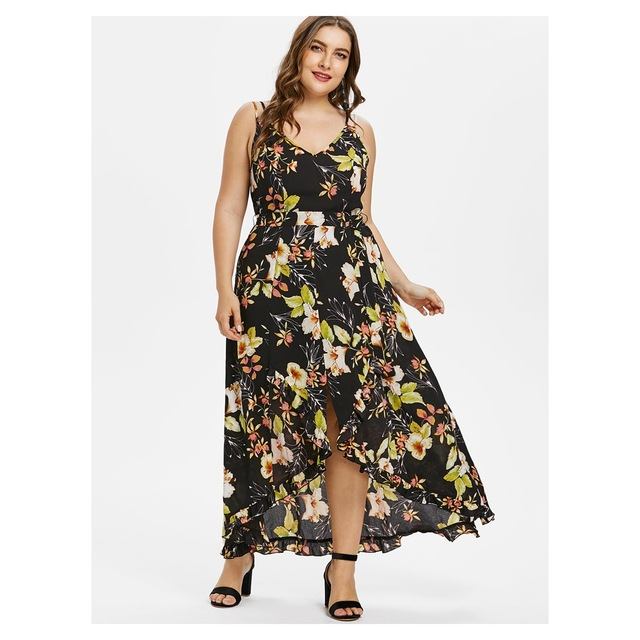 8f44753cd95 Wipalo Floral Print Women Maxi Dress Spaghetti Straps V-Neck Sleeveless  A-Line Tulip Hem Boho Summer Dresses Plus Size L-5XL