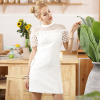2018 Women Summer White Lace Patchwork Dress Sexy Hollow Out Butterfly Sleeve O Neck Party Dress