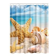 Ocean Shell Decor Collection Starfish Curtain Seascape Sea Beach Picture Print Bathroom Set Fabric Curtain With Hooks