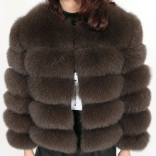 Real fox fur grass womens jacket  winter natural fur fashion short silm jacket luxury leather coat