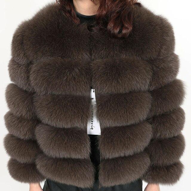 אמיתי שועל פרווה דשא נשים של מעיל חורף טבעי פרווה אופנה קצר silm מעיל יוקרה עור מעיל