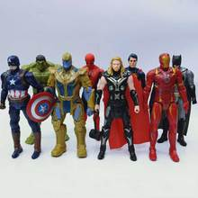 8pcs Super Hero Action Figure 18cm The Avenger Toys Thor Captain America Spider Man Iron Man Hulk PVC Action Figure Toy Dolls цена 2017
