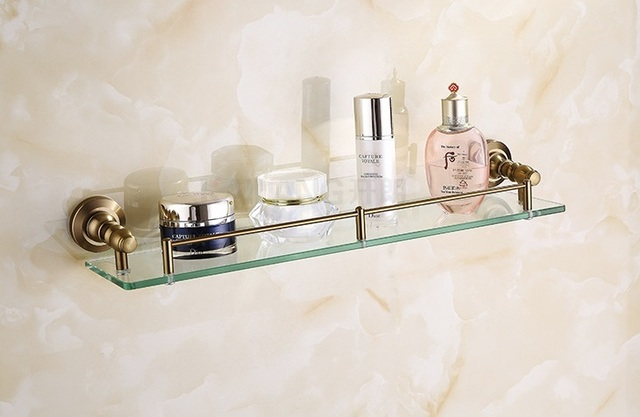 Antieke badkamer glazen plank messing materiaal badkamer accessoires ...