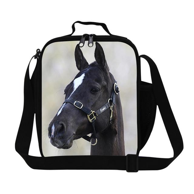 Crossbody Preto 3D Cavalo Saco do Almoço para as crianças Meninos Isolados saco de caixa de almoço para a escola, trabalho adulto almoço recipiente refeição dos homens sacos