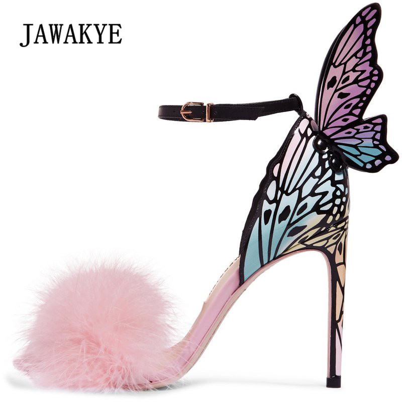 2018 Newest Pink Feather Butterfly Wing Gladiator Sandals Women Open Toe Sexy High Heel Shoes Woman Wedding Shoes-in High Heels from Shoes on AliExpress - 11.11_Double 11_Singles' Day 1