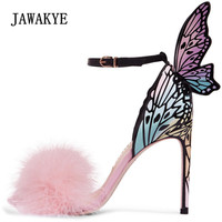 2018 Newest Pink Feather Butterfly Wing Gladiator Sandals Women Open Toe Sexy High Heel Shoes Woman Wedding Shoes