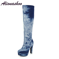 Alionashoo Plus Size 50 Women High Heels Tall Boots Sexy Platform High Heeled Over The Knee Boots For Women Ladies Dancing Boots