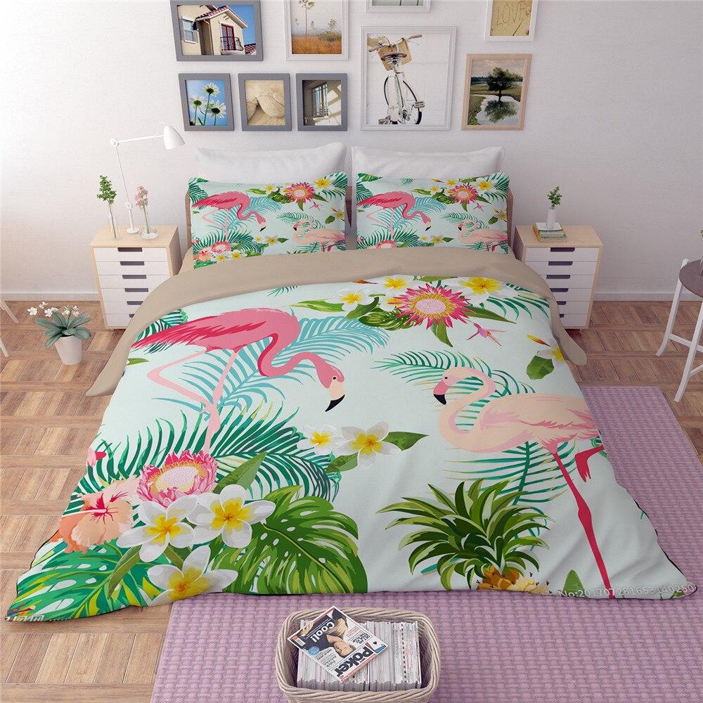 Flamant rose vert housse de couette ensemble animaux fleur feuilles imprimé oiseau literie ensemble roi mignon filles lit couverture 3/4 pièces couvre-lit