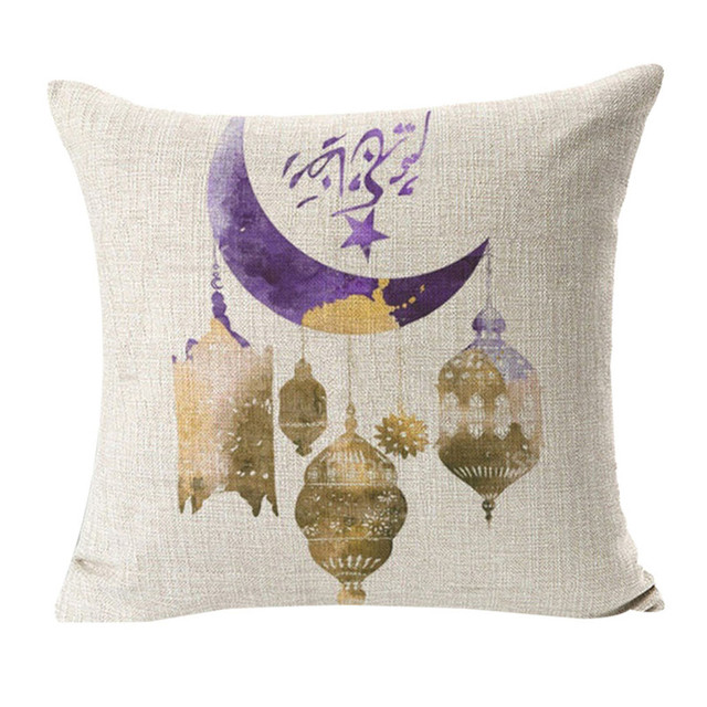 Ramadan Festival Linen Pillowcase Comfortable Sofa Cushion Set Home Decoration Cover Home Party Hotel Textile 45cm*45cm Hot 2019