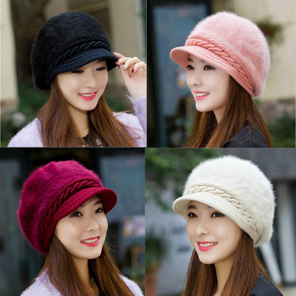 Fashion Women Hat Winter   Skullies     Beanies   Knitted Hats Rabbit Fur Cap high quality Knitting Rabbit Fur comfortable knitted hats