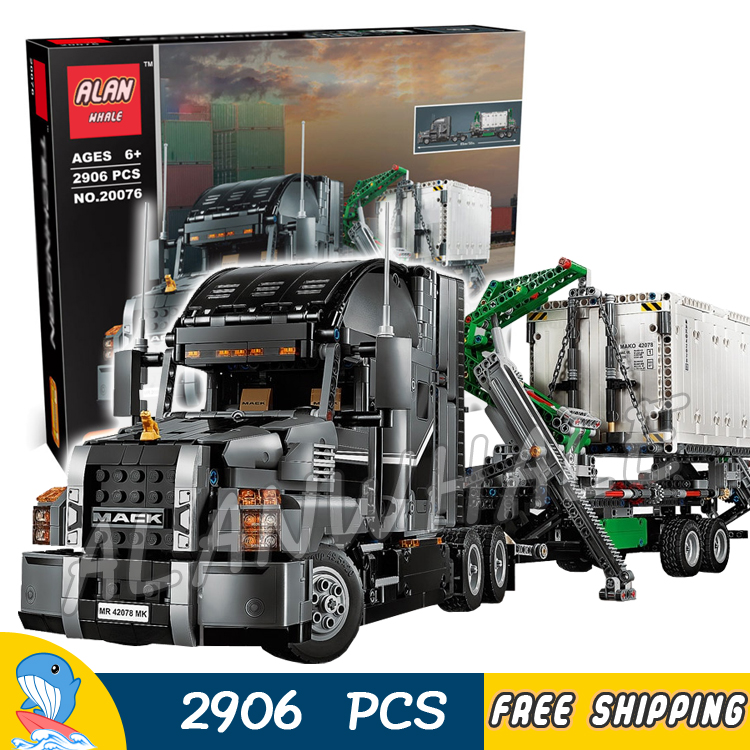 2906pcs 2in1 Techinic Advanced Mack Anthem Mack LR Garbage Truck 20076 DIY Model Building Blocks Toy Bricks Compatible With lego lepin 20076 technic series the mack big