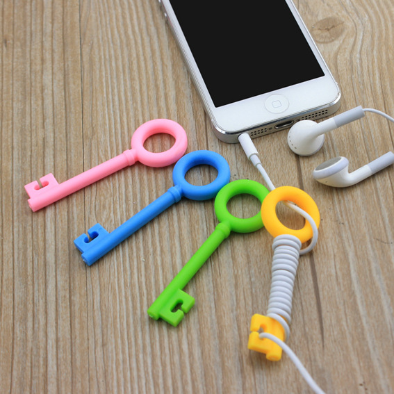 100pcs/lot Wholesale Cute key Cable Winder Clip Earphone Winder Earbud Silicone Cable Cord Holder Roma Buckle Type Free ship