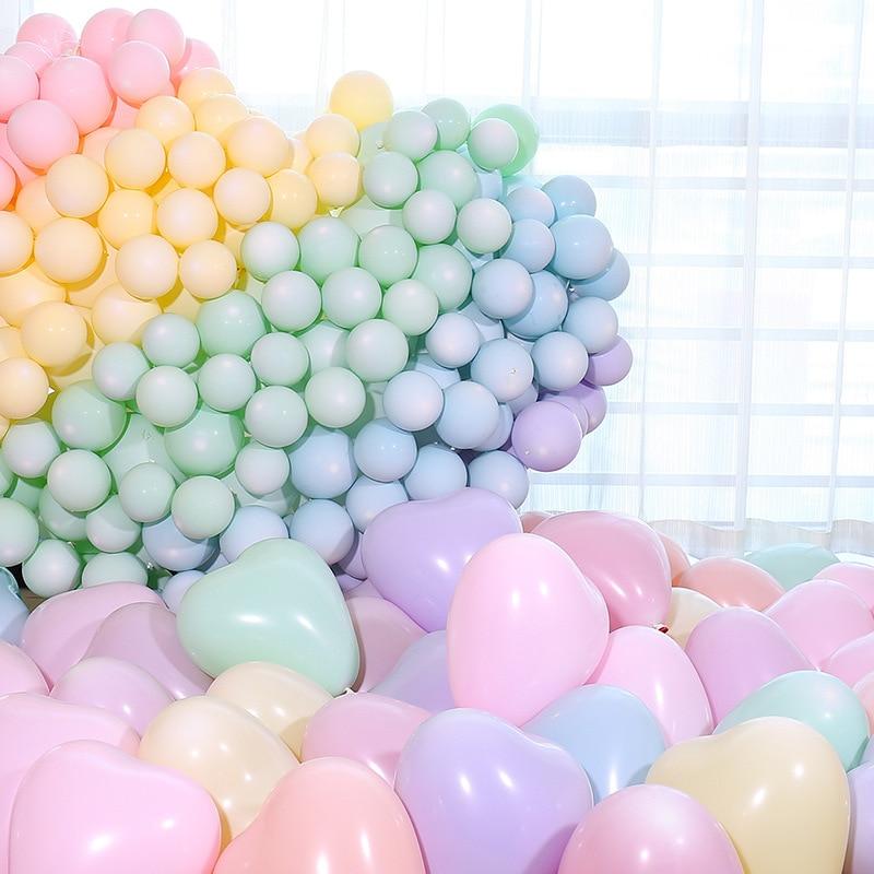 Воздушные шары с сердцем 100 шт. 2,2 г 12-дюймовые латексные воздушные шары Макарон «сердце», Свадебные Декорации для дней рождения, надувные ге...