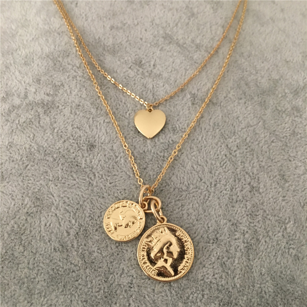 TRENDY GOLD COLOR TWO COIN MEDALLION HEART PENDANT LAYERED NECKLACE FOR  WOMEN GIRL-in Pendant Necklaces from Jewelry   Accessories on  Aliexpress.com ... 5947c5f9db