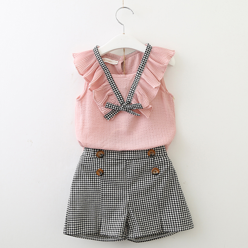 Girls Clothing Sets 2018 New Style Summer Children Clothes Cute Plaid Lace + White Bow Short Pants 2pc Kids Clothes Sets