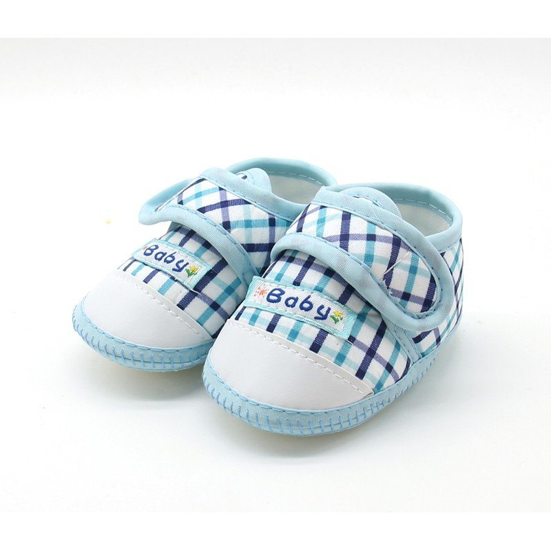 WEIXINBUY Baby Boys Girls Shoes Cotton Plaid First Walkers Toddler Prewalker Soft Sole Booties