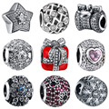 WYBEADS Silver Charm Pave Clear Cubic Zircon Charms European Fit Bracelets & Bangle DIY Accessories Jewelry Original Making