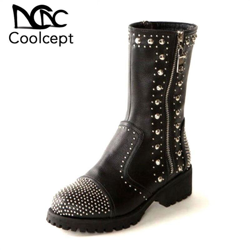 Coolcept Größe 35-41 Frauen Aus Echtem Leder Stiefel Plattform Schuhe Natürliche Wolle Frauen Winter Schnee Stiefel Mode Hohe Ferse Stiefel Frauen Schuhe