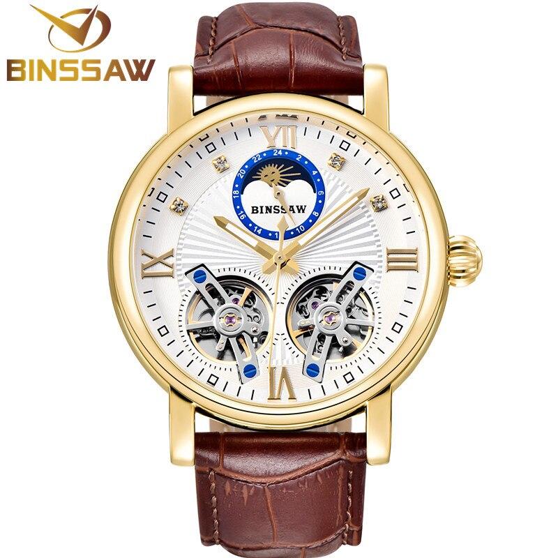 BINSSAW для мужчин автоматические механические сталь двойной Tourbillon Роскошные кожаные часы Модные Бизнес Спортивные часы Relogio Masculino