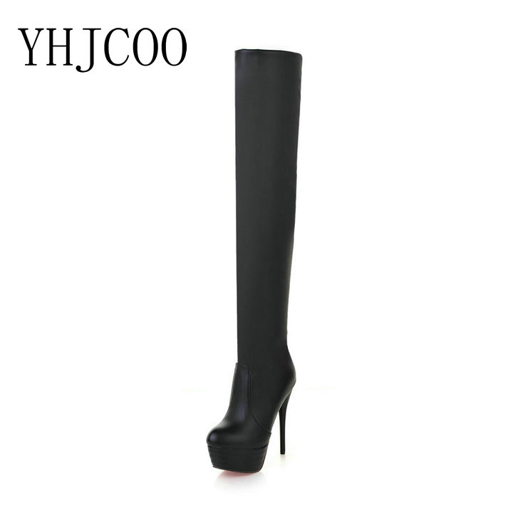 sexy women Fashion Boots high Thin Heels shoes Round Toe platform ladies party Over-the-Knee Knight boots plus size 43 nasipal 2017 new women pu sexy fashion over the knee boots sexy thin high heel boots platform woman shoes big size 34 43 g804