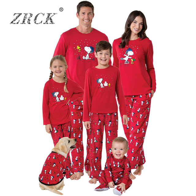 zrck family christmas pajamas family matching clothes matching mother daughter 2017 cute dog father son new