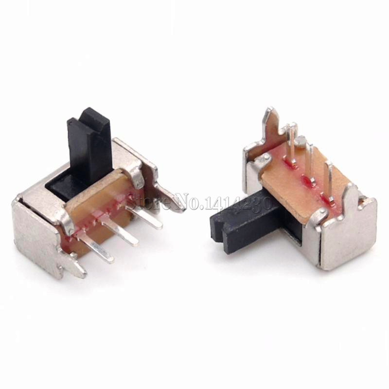 10Pcs 3 Pin PCB 2 Position 1P2T SPDT Miniature Slide Switch Side Knob SK12D07VG4 10pcs slide type switch module 1 bit 2 54mm 1 position way dip red pitch