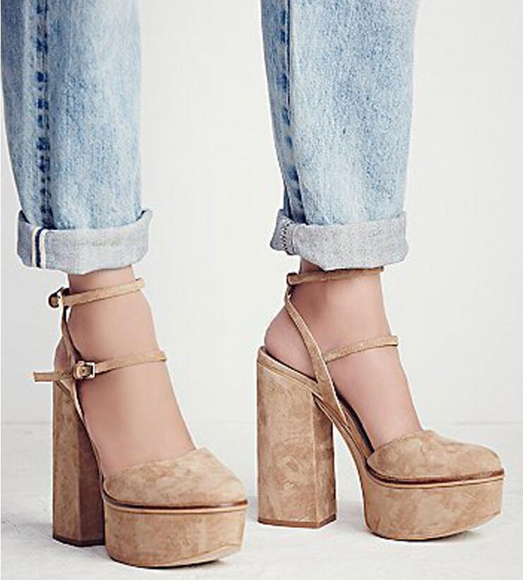 Abesire/женские пикантные сандалии гладиаторы на толстой платформе и высоком квадратном каблуке, женская обувь с круглым носком и ремешком на