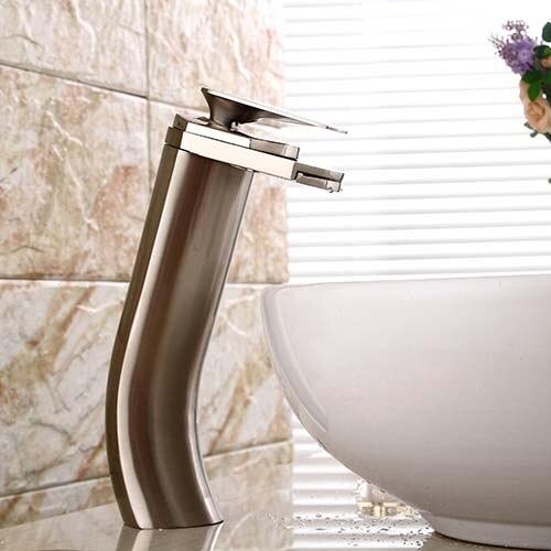 Unique Shape Nickel Brushed Waterfall Bathroom Sink Vessel